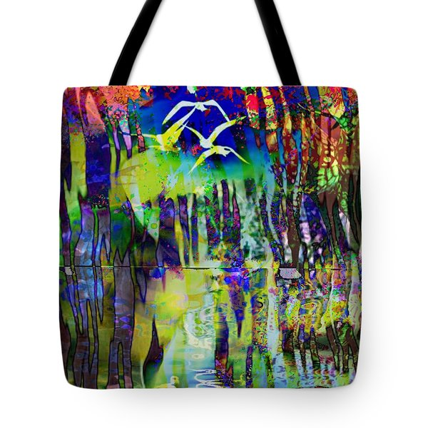 Tote Bag featuring the digital art Woodland Stream by Diana Riukas