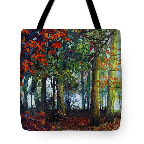 Tote Bag featuring the painting Woodland Trail by Hailey E Herrera