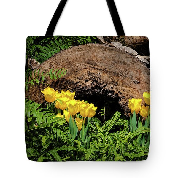 Tote Bag featuring the photograph Woodland Tulip Garden by Tom Mc Nemar
