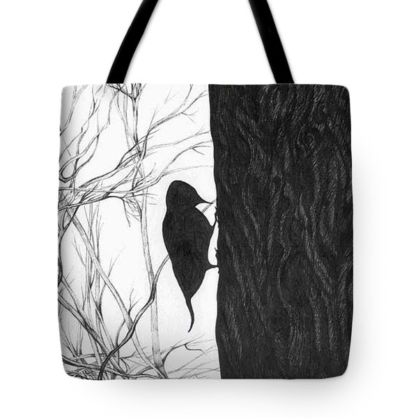 Tote Bag featuring the drawing Woodpecker by Anna  Duyunova