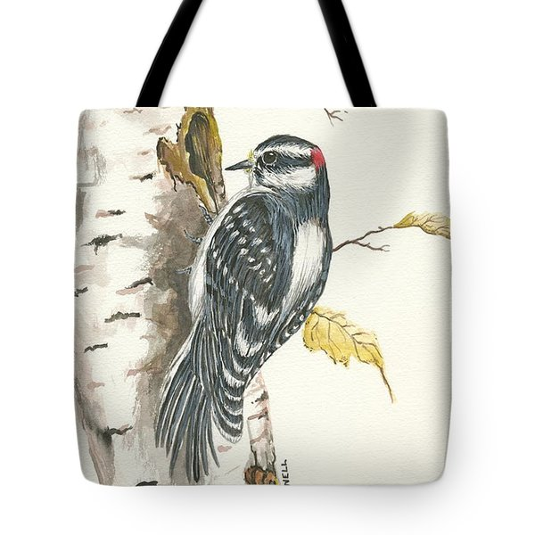 Tote Bag featuring the painting Woodpecker by Darren Cannell