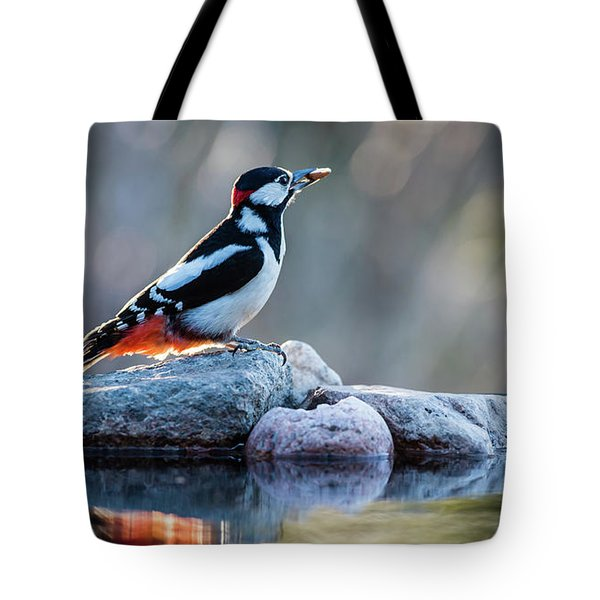 Woodpecker In Backlight Tote Bag by Torbjorn Swenelius