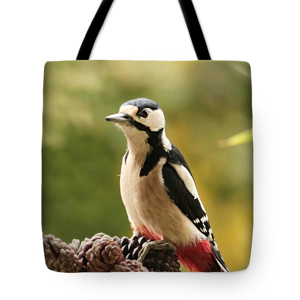 Woodpecker In Winter Tote Bag by Heike Hultsch