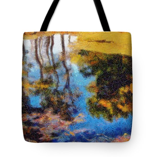 Woods In The Pond Tote Bag by Spyder Webb