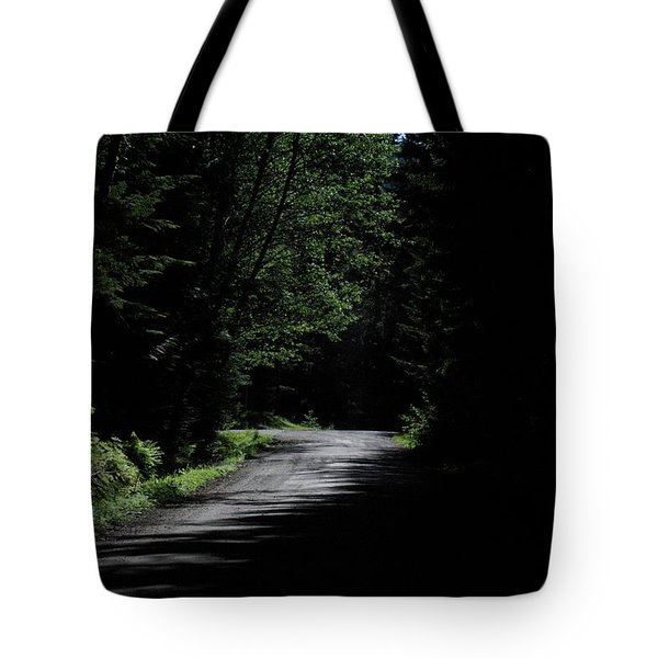 Woods, Road And The Darkness Tote Bag