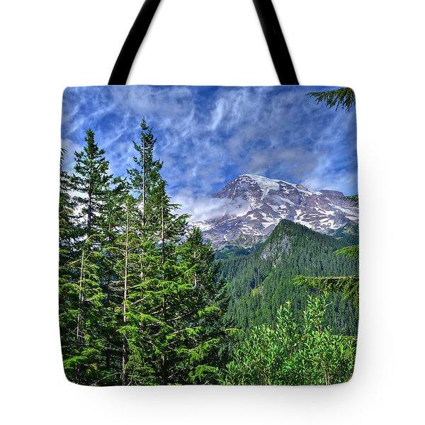 Woods Surrounding Mt. Rainier Tote Bag