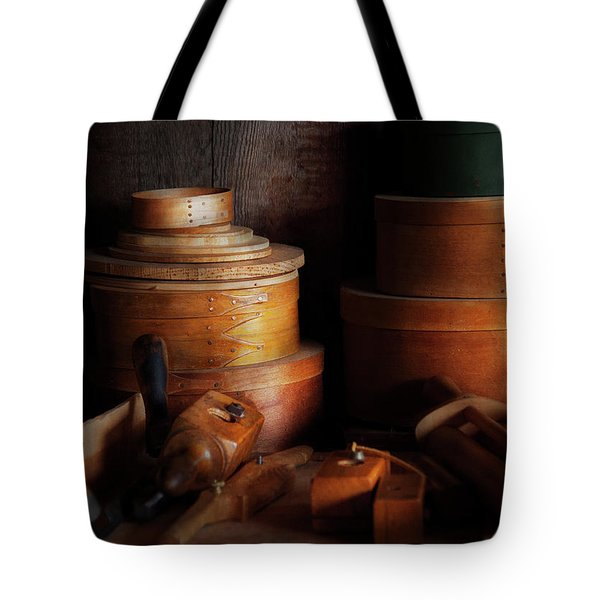 Woodworker - Shaker Box Shop  Tote Bag by Mike Savad
