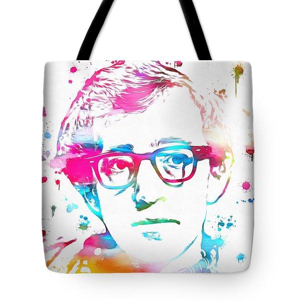 Woody Allen Paint Splatter Tote Bag