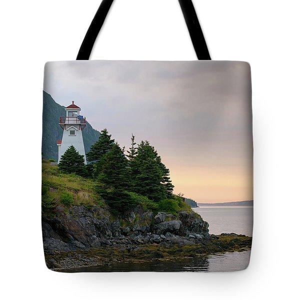 Woody Point Lighthouse - Bonne Bay Newfoundland At Sunset Tote Bag