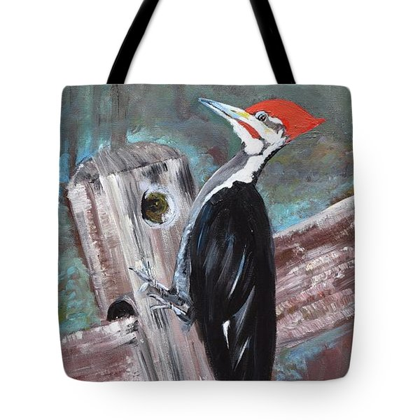 Tote Bag featuring the painting Woody - The Pileated Woodpecker by Jan Dappen
