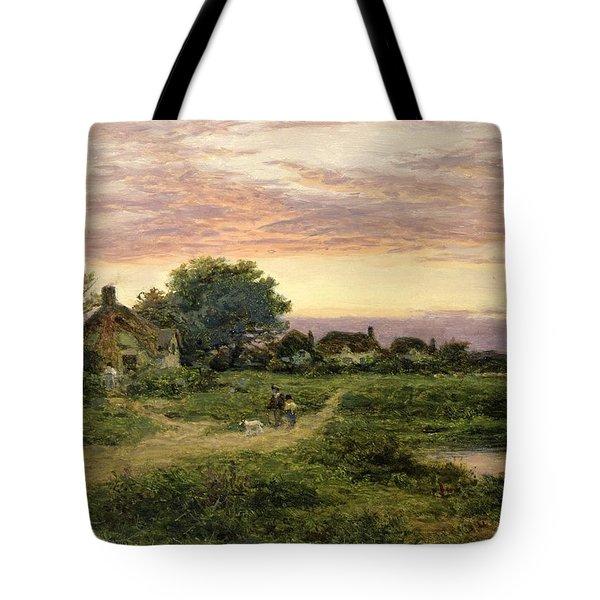 Worcestershire Cottages Tote Bag by Benjamin William Leader