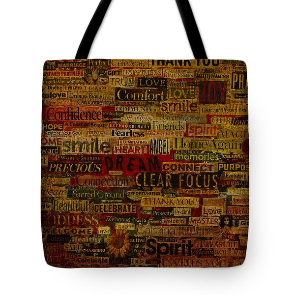 Tote Bag featuring the mixed media Words Matter by Gloria Rothrock