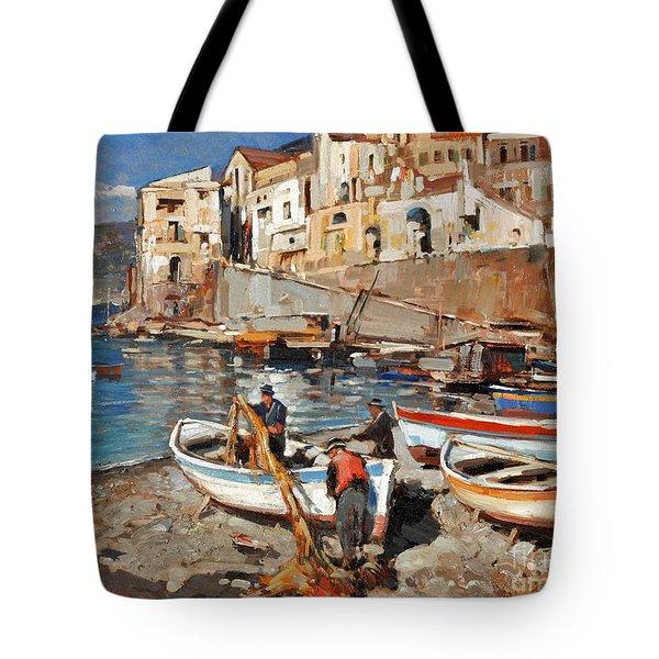 Work Never Ends For Amalfi Fishermen Tote Bag
