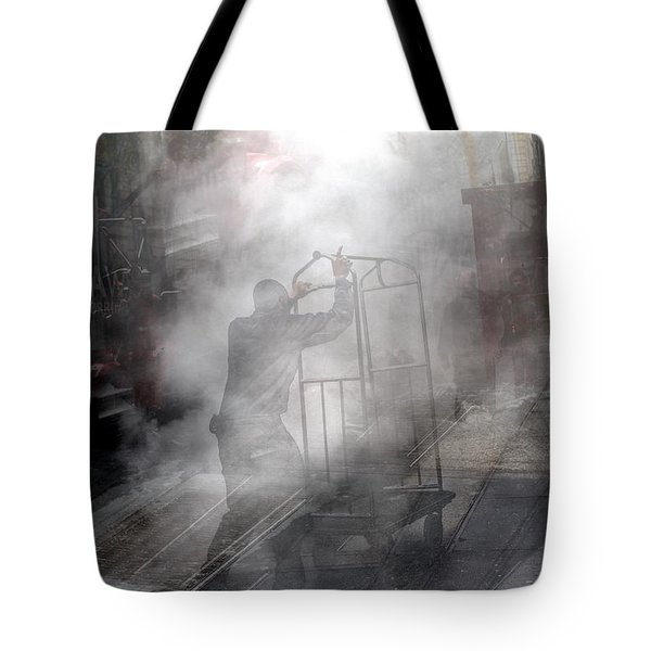 Worker In Steam Collage Tote Bag