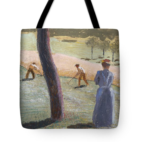 Workers In A Field At Kandern Tote Bag