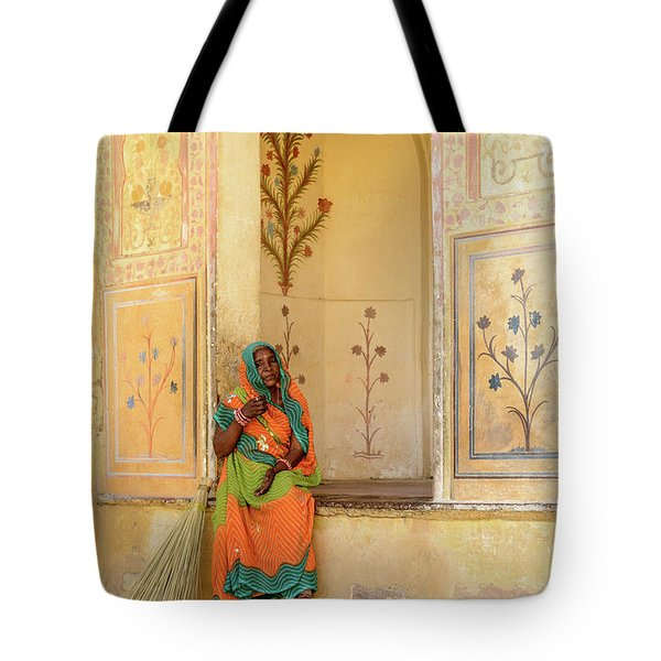 Workers In Amer Fort 01 Tote Bag