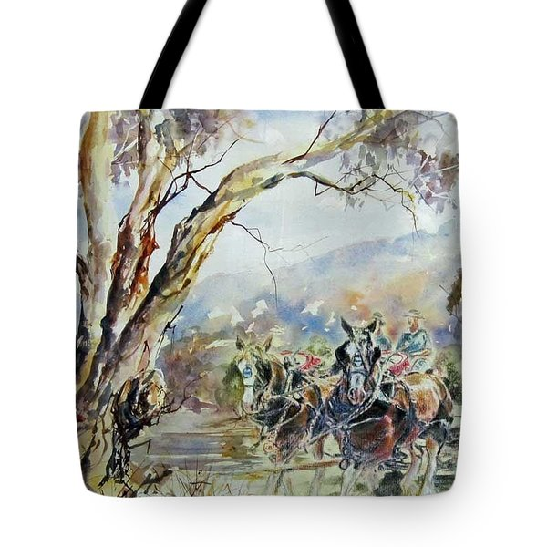 Working Clydesdale Pair, Australian Landscape. Tote Bag