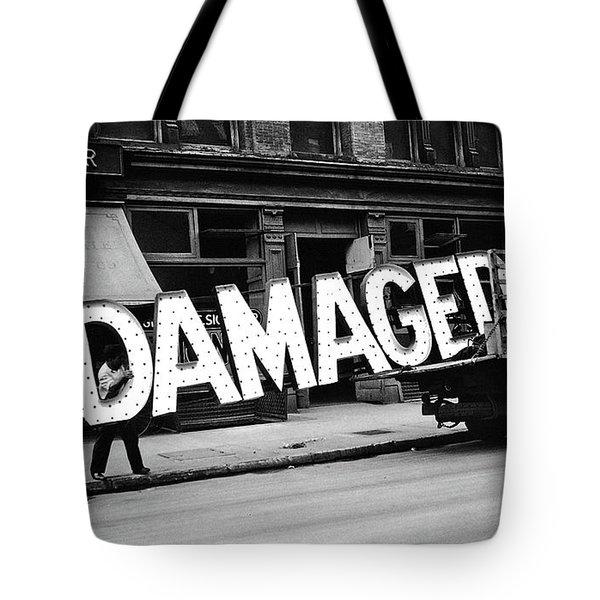 Workmen Hauling Damaged Sign Walker Evans Photo New York City 1930 Color Added 2008 Tote Bag