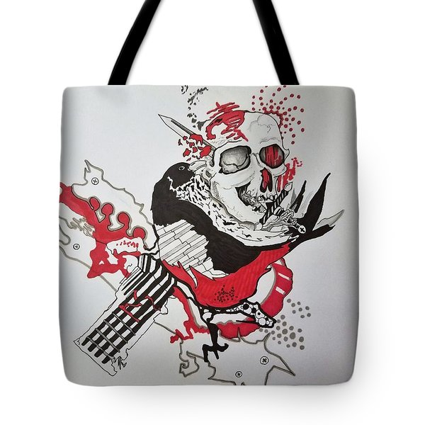 Tote Bag featuring the drawing World Down-side-up by Kevin F Heuman