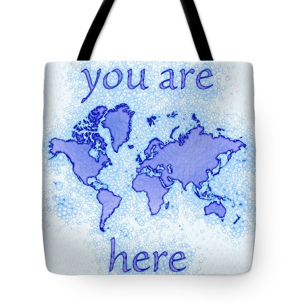 World Map Airy You Are Here In Blue And White Tote Bag