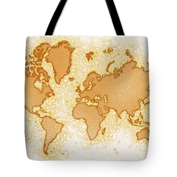 World Map Airy In Brown And White Tote Bag by Eleven Corners