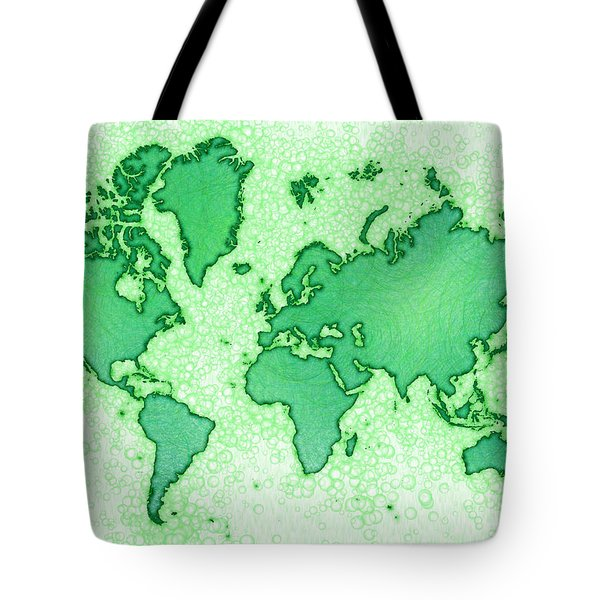 World Map Airy In Green And White Tote Bag by Eleven Corners