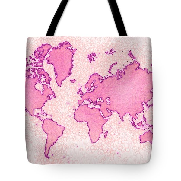 World Map Airy In Pink And White Tote Bag by Eleven Corners