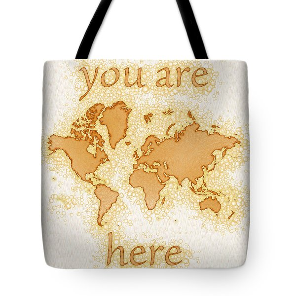 World Map Airy You Are Here In Brown And White  Tote Bag