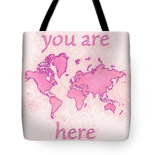World Map Airy You Are Here In Pink And White Tote Bag by Eleven Corners