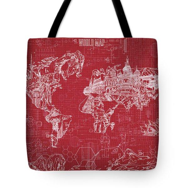World Map Blueprint 3 Tote Bag by Bekim Art