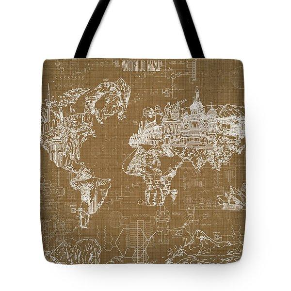 World Map Blueprint 4 Tote Bag by Bekim Art