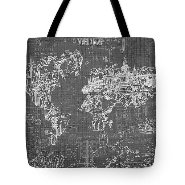 World Map Blueprint 5 Tote Bag by Bekim Art