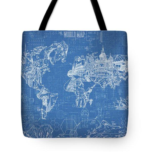 World Map Blueprint Tote Bag by Bekim Art