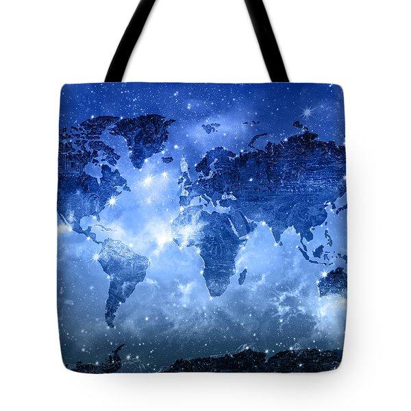 World Map Galaxy 9 Tote Bag by Bekim Art
