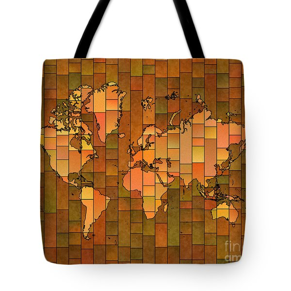 World Map Glasa Brown Orange Green Tote Bag by Eleven Corners