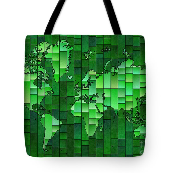 World Map Glasa Green Tote Bag