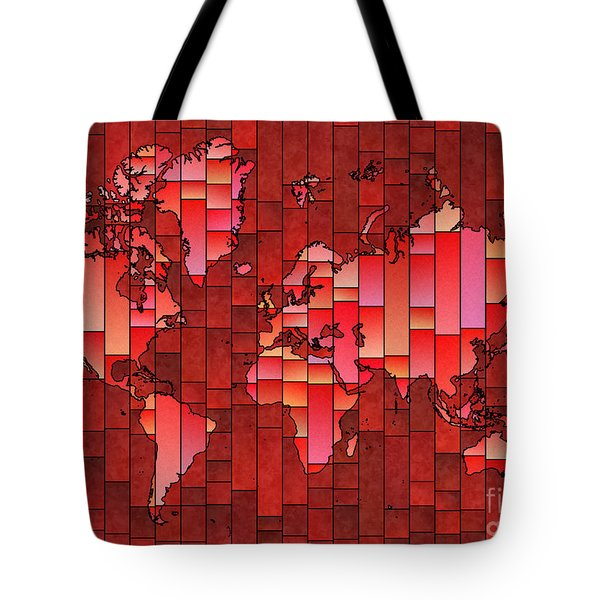 World Map Glasa Red Tote Bag