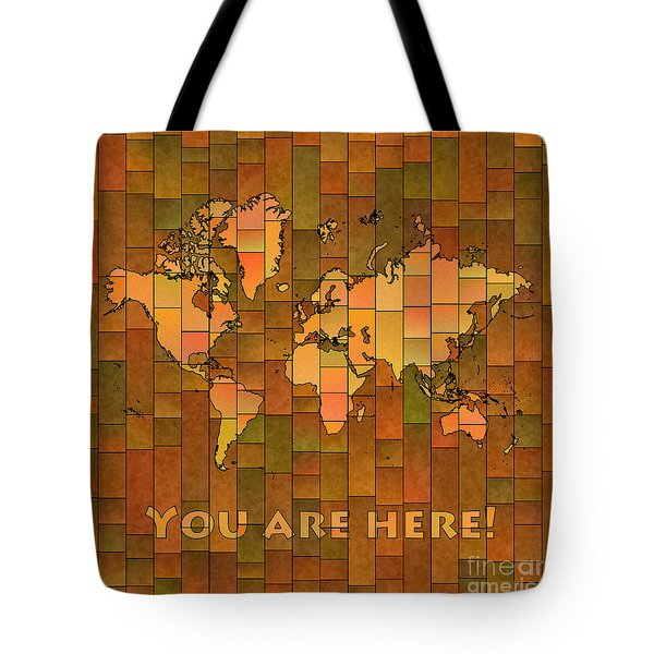 World Map Glasa You Are Here Brown Orange Green Tote Bag