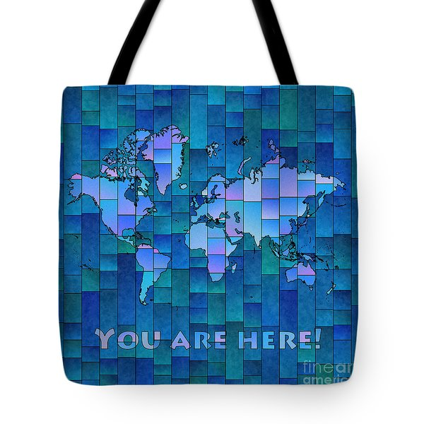 World Map Glasa You Are Here In Blue Tote Bag