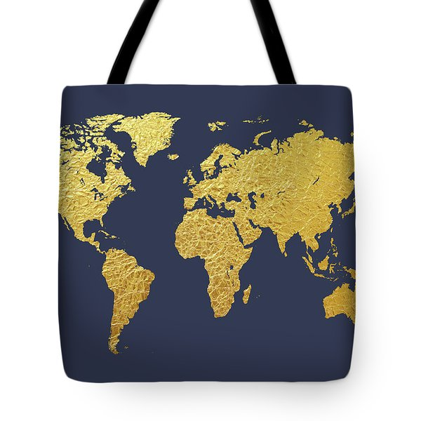 World Map Gold Foil Tote Bag