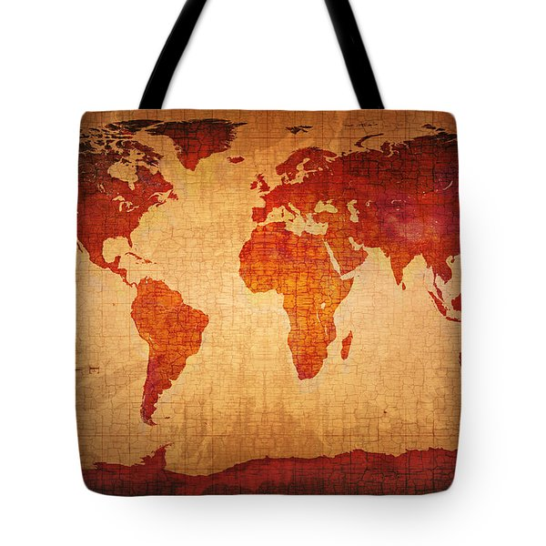 World Map Grunge Style Tote Bag