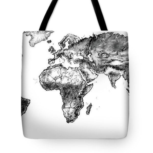 Tote Bag featuring the drawing World Map In Graphite by Heidi Kriel
