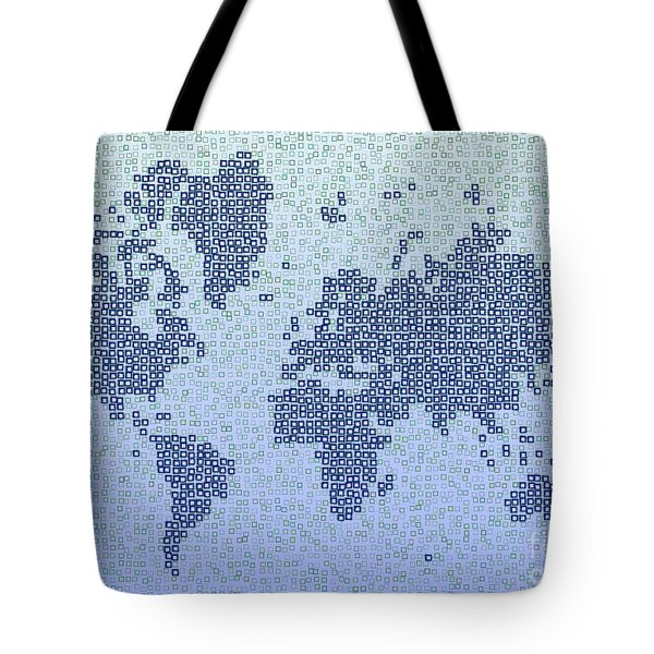 World Map Kotak In Blue Tote Bag