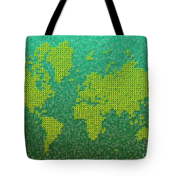 World Map Kotak In Green And Yellow Tote Bag by Eleven Corners