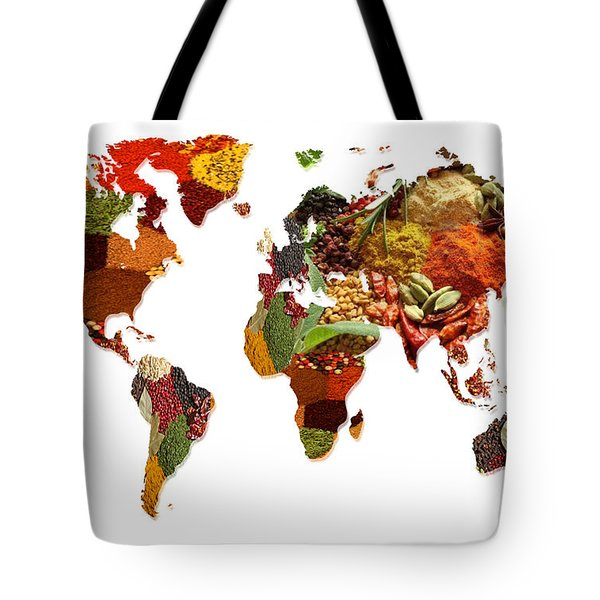 World Map Of Spices And Herbs  Tote Bag