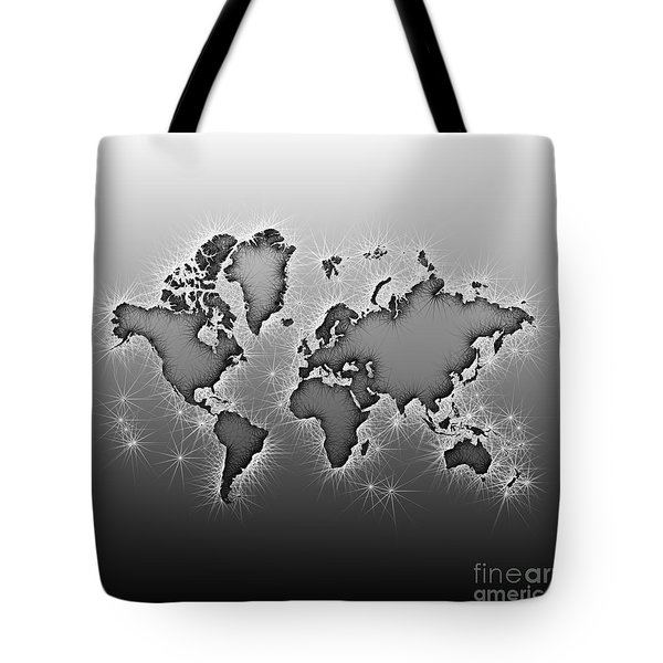 World Map Opala In Black And White Tote Bag by Eleven Corners