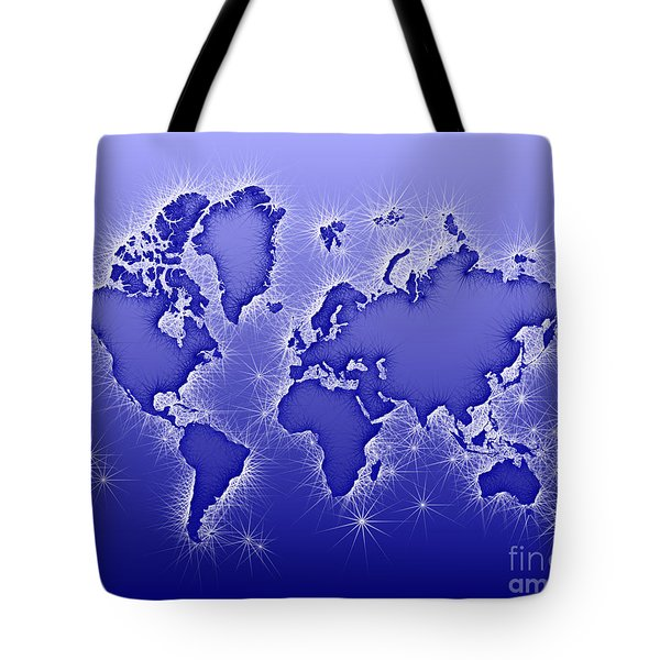 World Map Opala In Blue And White Tote Bag