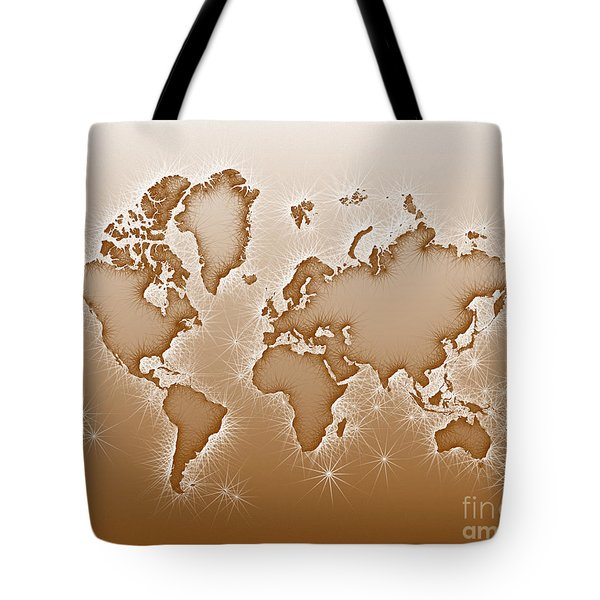 World Map Opala In Brown And White Tote Bag by Eleven Corners