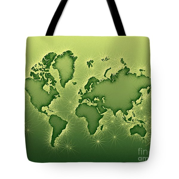 World Map Opala In Green And Yellow Tote Bag by Eleven Corners
