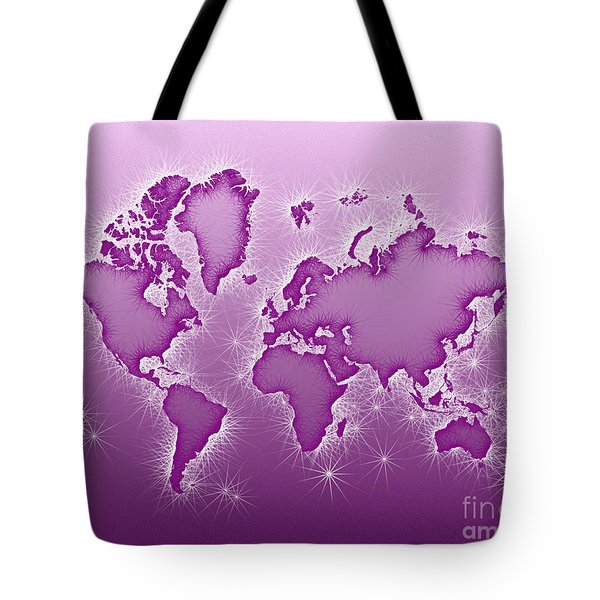 World Map Opala In Purple And White Tote Bag by Eleven Corners